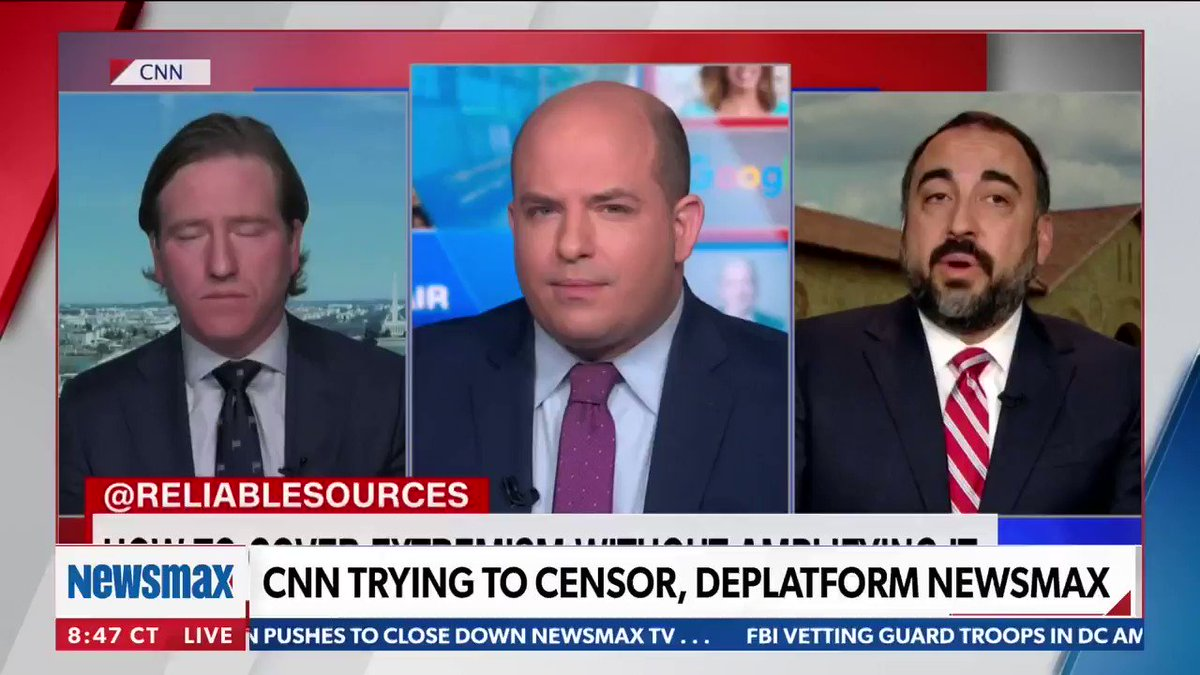 After a CNN segment labelled this 'the Newsmax problem' and called for the network to be de-platformed through both cable providers and online, Newsmax TV's panel reacts.  @EmmaRechenberg @ShaunKraisman