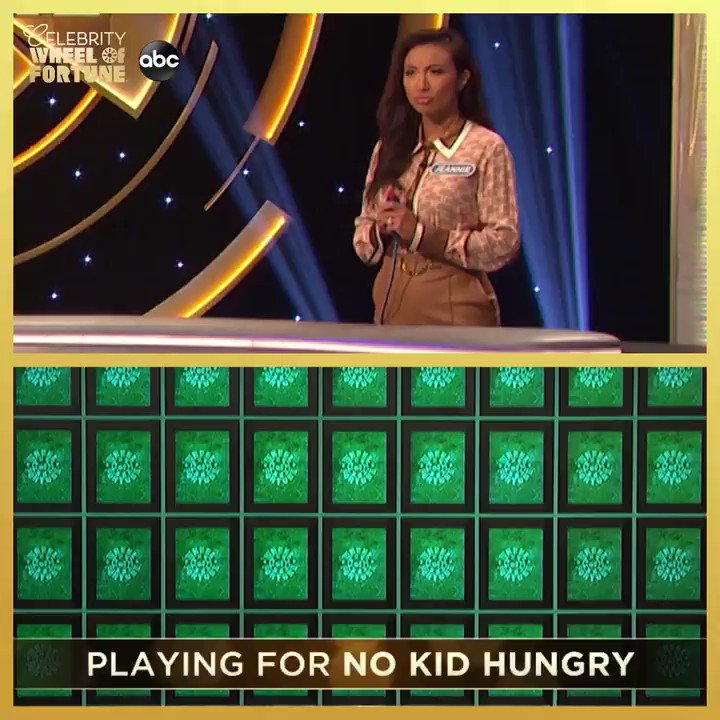 That's right, @jeanniemai also joins #CelebrityWheelOfFortune this week! Cheer her on as she plays for @nokidhungry.