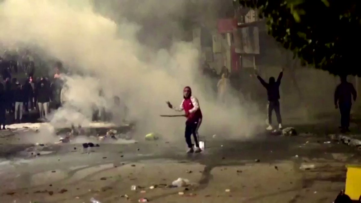 Hundreds of youths clashed with #police in #Tunisia as #securityforces used tear gas and water cannons to try to quell the unrest that followed the #10thanniversary of the #ArabSpringrevolution