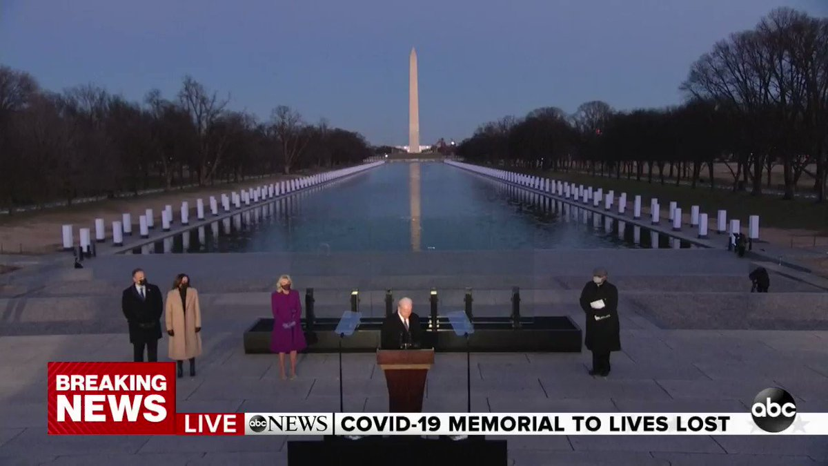 """Pres.-elect Biden during lighting ceremony at COVID-19 memorial in Washington, D.C.: """"To heal, we must remember. It's hard sometimes to remember. But that's how we heal. It's important to do that as a nation."""""""