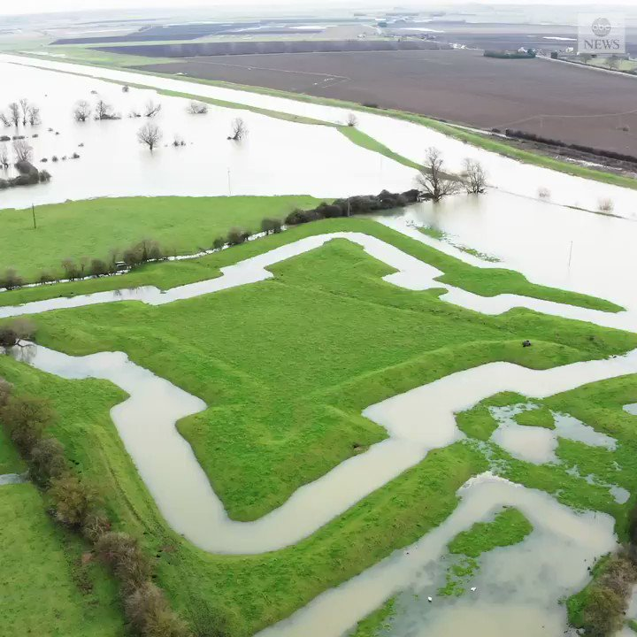 NOW YOU SEE IT: Heavy rain and flooding revealed the outline of 400-year-old English Civil War fortification in the village of Earith.