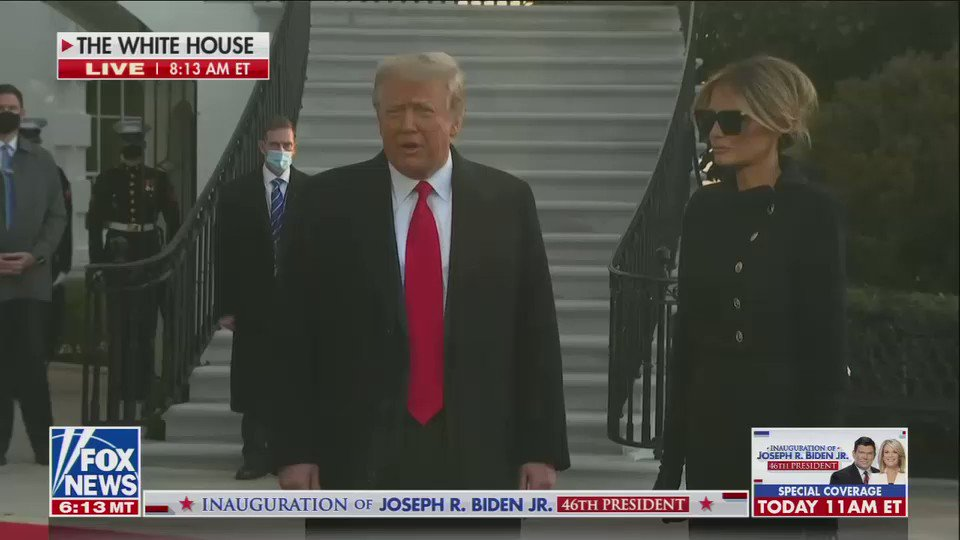 President Trump and Melania depart the White House