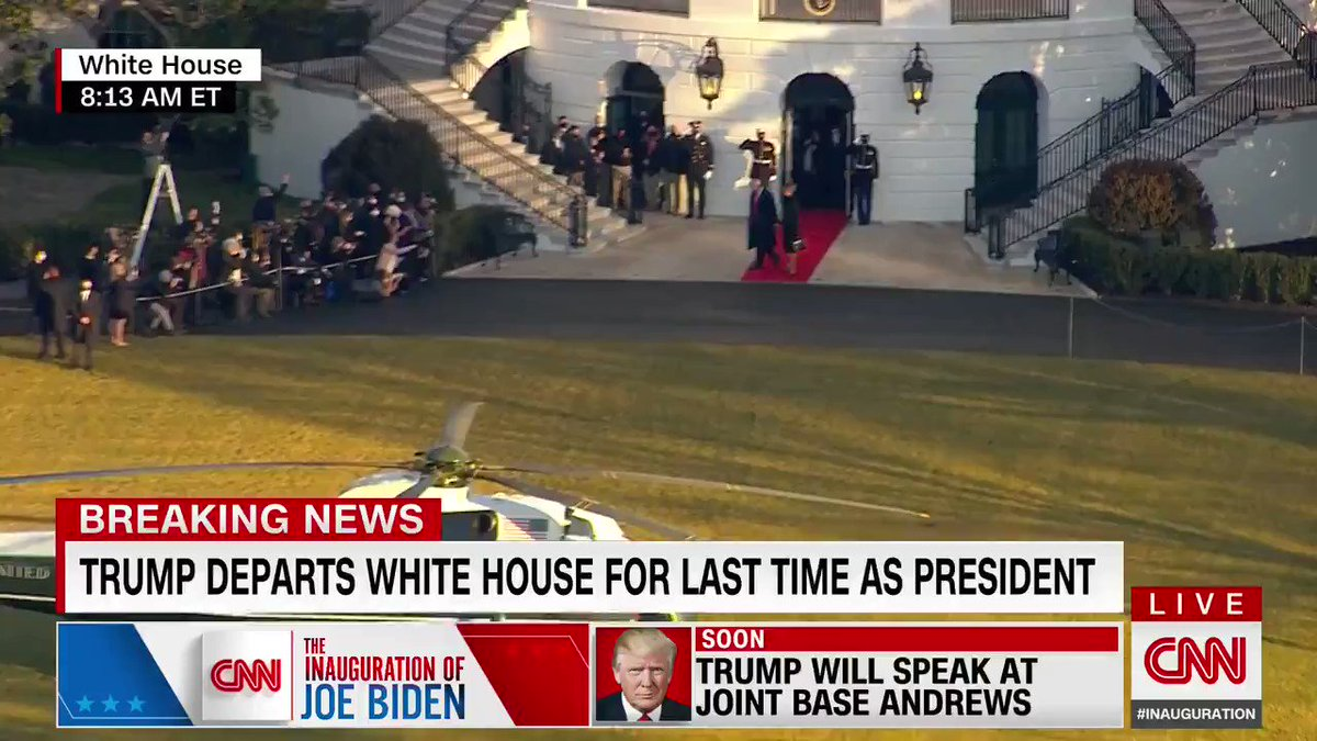 JUST IN: President Trump and first lady Melania Trump depart the White House for the last time aboard Marine One