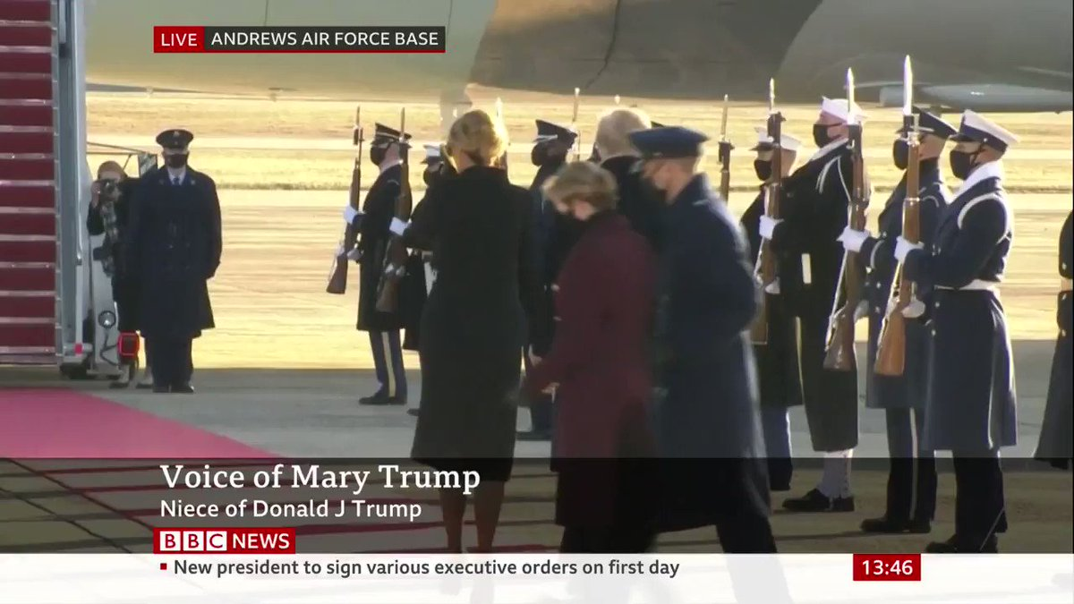 """I'm happy to see the back of him""  Mary Trump, Donald Trump's niece speaks, as the president and first lady board Air Force One, saying Trump's presidency is ""one of the greatest tragedies this country has ever suffered through"""