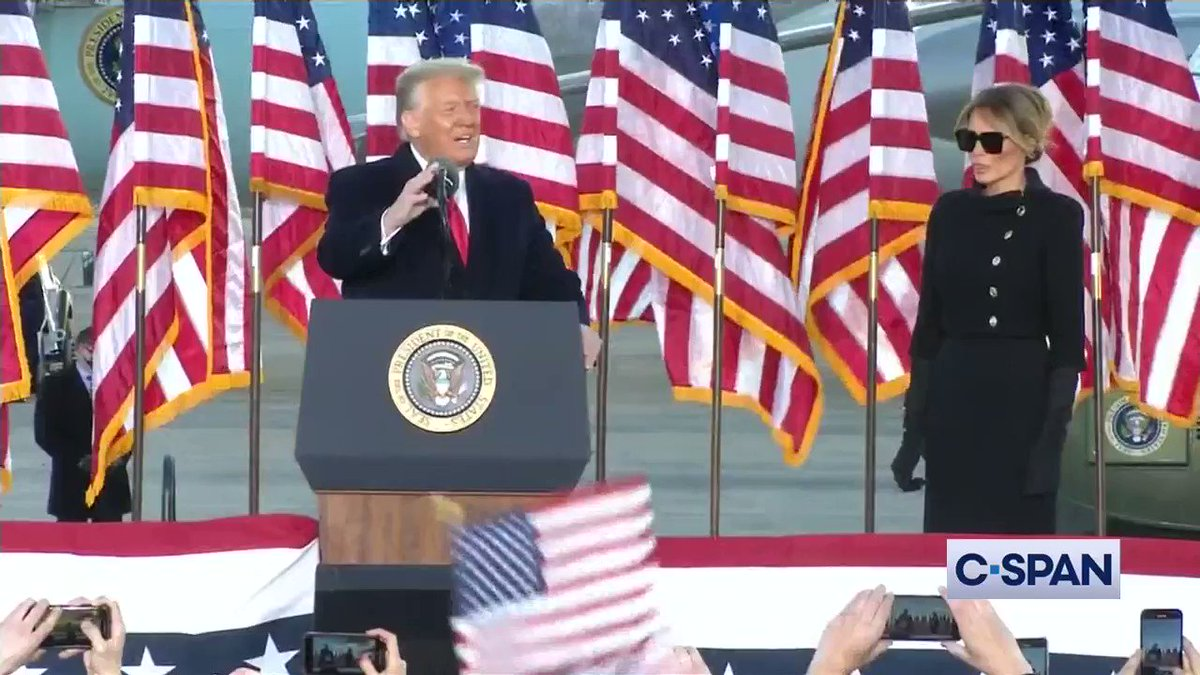 """President Trump: """"It was my great honor and privilege to be your president...I wish the new administration great luck and great success...Have a good life. We will see you soon.""""    #InaugurationDay"""