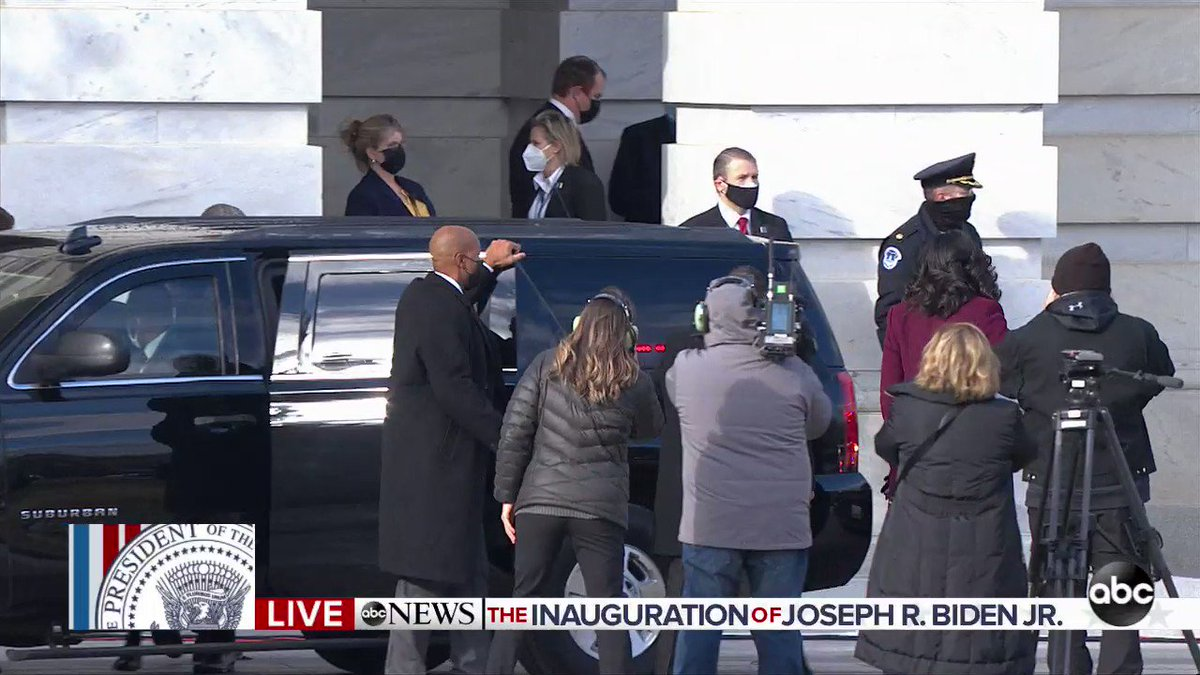 Former President Barack Obama and former first lady Michelle Obama arrive at the Capitol ahead of Joe Biden's inauguration as 46th President of the United States.  #InaugurationDay