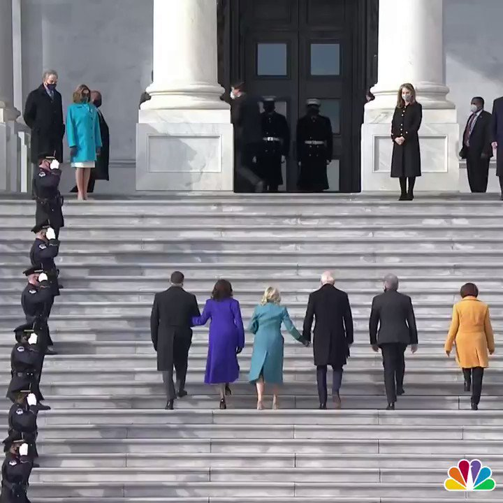 JUST ARRIVED I President-Elect Biden and VP-Elect Harris just ascended the same steps that rioters used to breach the Capitol a few weeks ago. Watch live:  #Inauguration #InaugurationDay #Inauguration2021