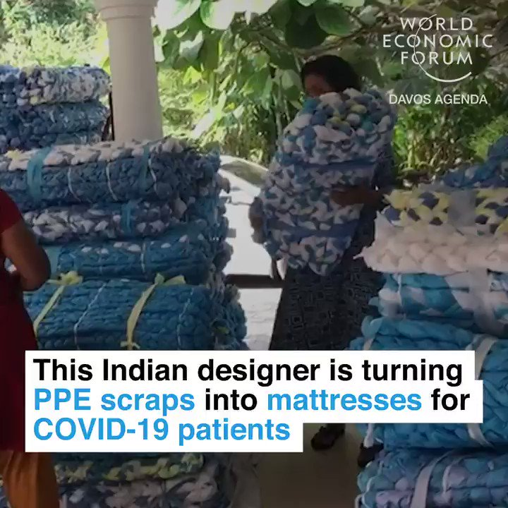 Bravo! Indian 🇮🇳 entrepreneur Lakshmi Menon in Kerala is turning covid19 protection equipment into mattresses and bedrolls for patients. Exactly the circular economy we need! ❤️