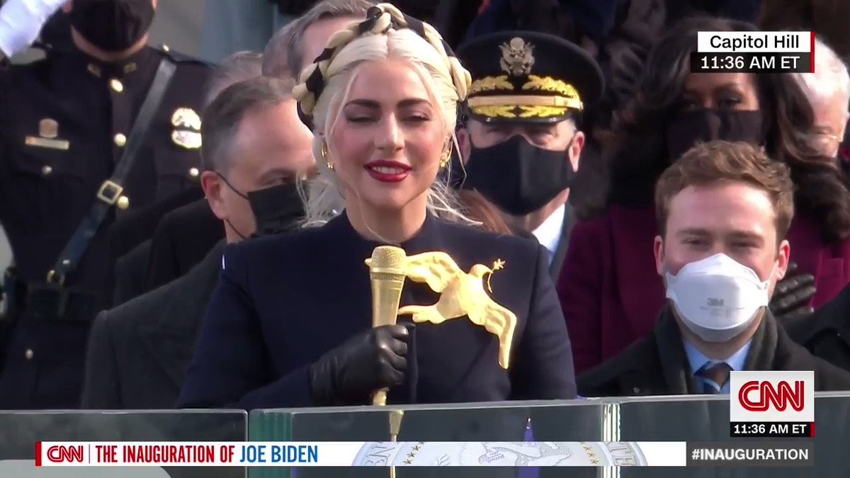 Lady Gaga performs the national anthem at the inauguration of President-elect Joe Biden
