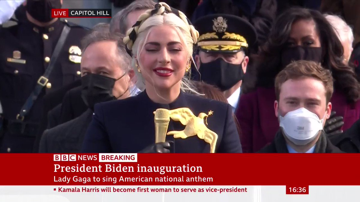 Lady Gaga sings the US national anthem at the inauguration ceremony for Joe Biden and Kamala Harris
