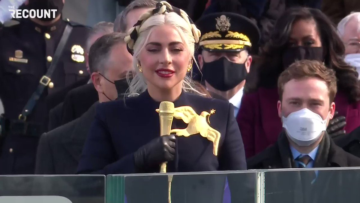 She is wearing an iconic DOVE of peace with a literal olive branch in its mouth and there is incredible emotion in every word she sings. 🙌🏼🎶🇺🇸☮️❤️ #Inauguration2021