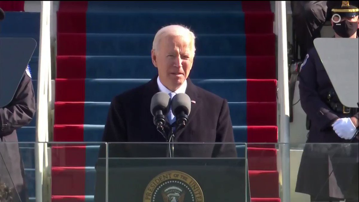 """""""Democracy has prevailed,"""" Biden says #Inauguration2021 https://t.co/q2FYcZYDyd"""