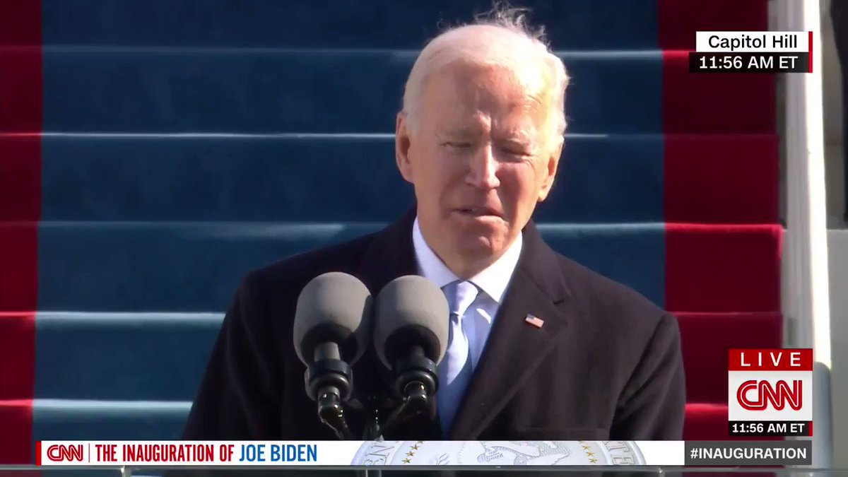"""""""Today, on this January day, my whole soul is in this, bringing America together and uniting our people, and uniting our nation, and I ask every American to join me in this cause,"""" President Joe Biden says"""