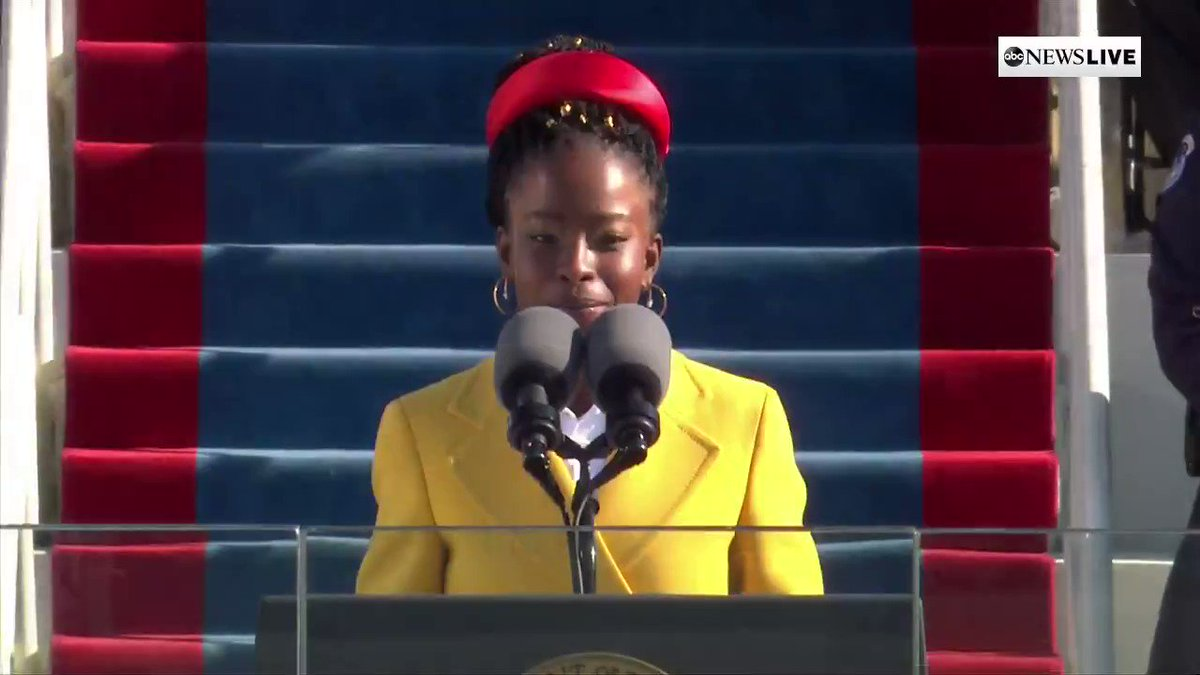Amanda Gorman, 22, is the youngest inaugural poet in U.S. history, as she performs at the 59th Presidential Inauguration.✊🏿 (Via @ABC)