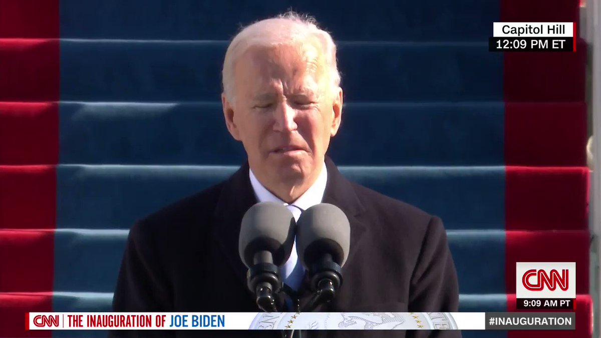 """Pres. Biden: """"I will defend the Constitution.I'll defend our democracy.I'll defend America… And together we shall write anAmerican story of hope, notfear, of unity not division.Of light, not darkness.A story of decency and dignity,love and healing, greatness andgoodness"""""""