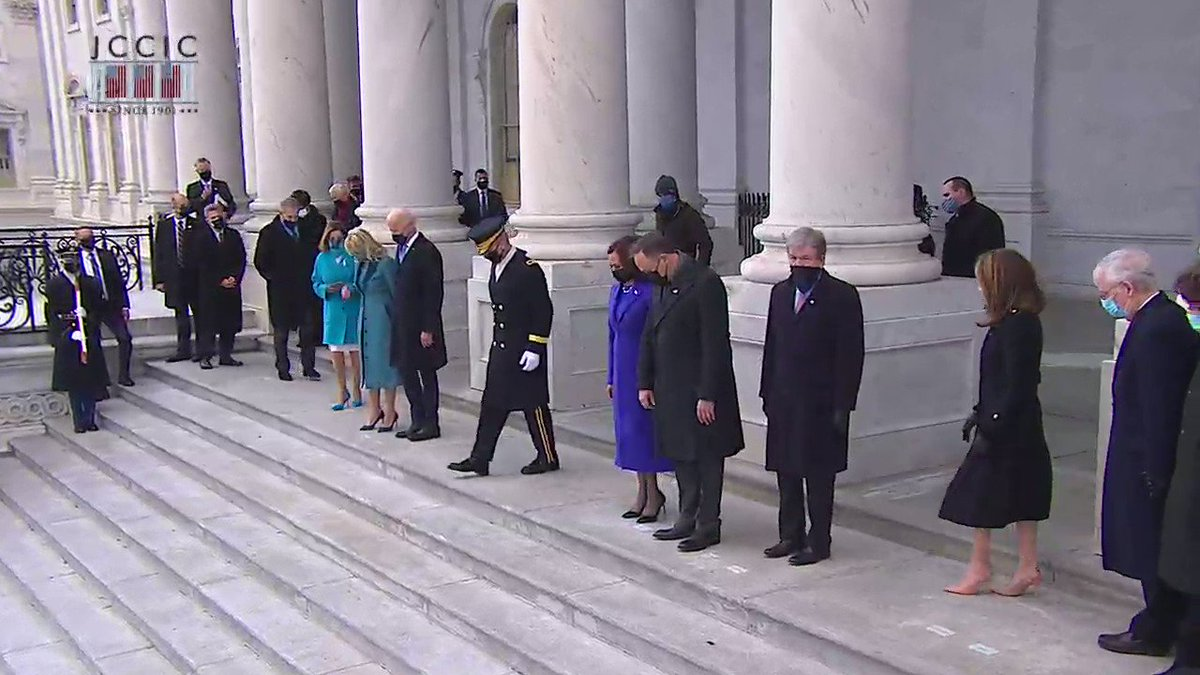 .@POTUS Joe Biden, @FLOTUS Dr. Jill Biden, @VP Kamala Harris, and @SecondGentleman Douglas Emhoff take their place on the East Front steps to review the troops.