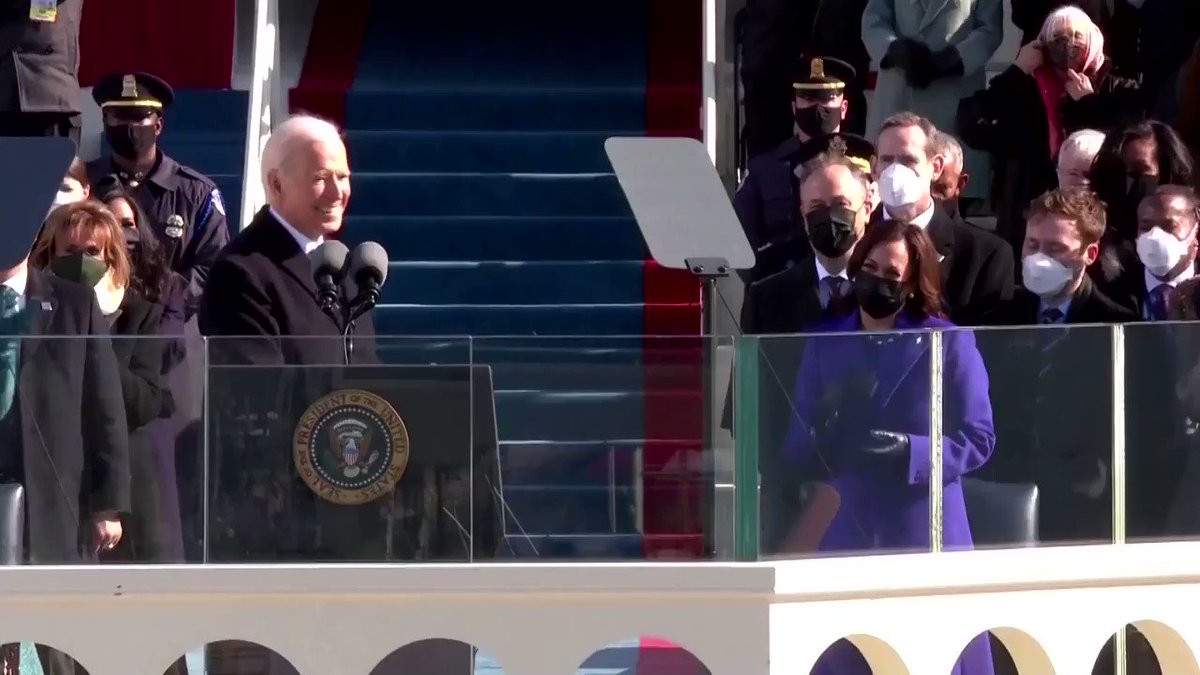 Joe Biden declared that 'democracy has prevailed' in a deeply divided country as he was sworn in as the 46th president of the United States