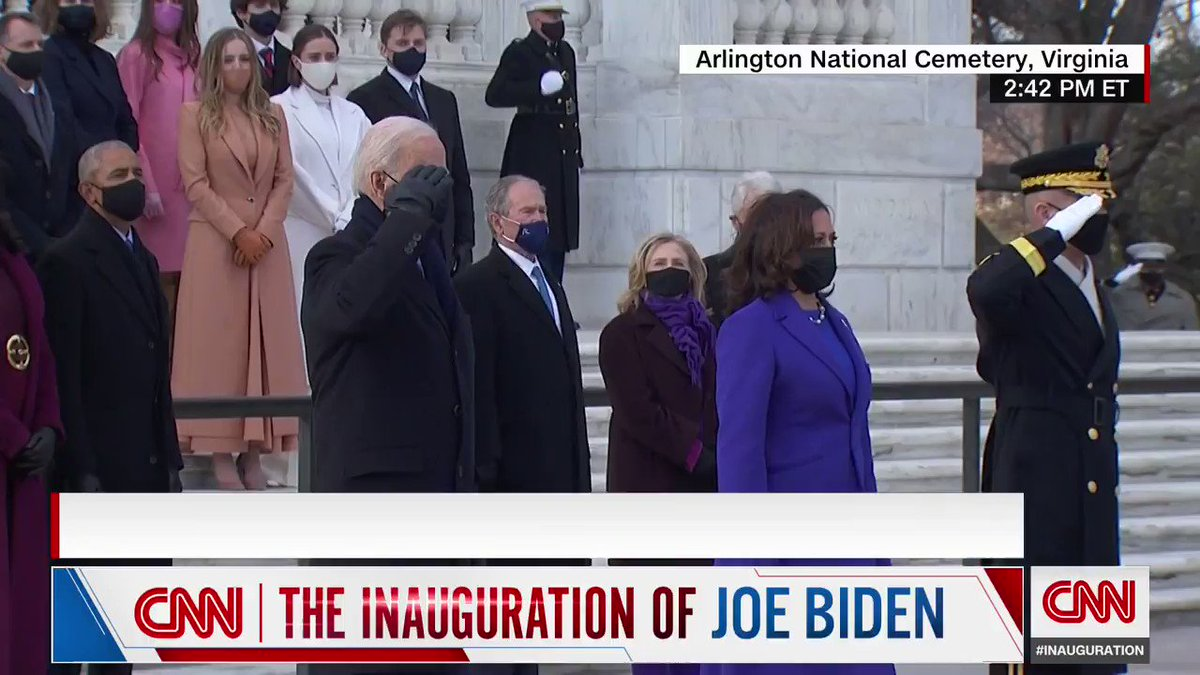 President Biden and Vice President Harris participated in a wreath-laying ceremony at the Tomb of the Unkown Soldier at Arlington National Cemetery. The Bidens were joined by former Presidents Obama, Bush and Clinton, and the former first ladies.