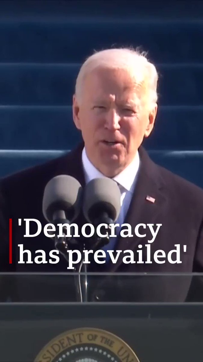 """""""Democracy has prevailed""""  In his inaugural address as the 46th president of the United States, Joe Biden said it was a """"day of history and hope"""""""