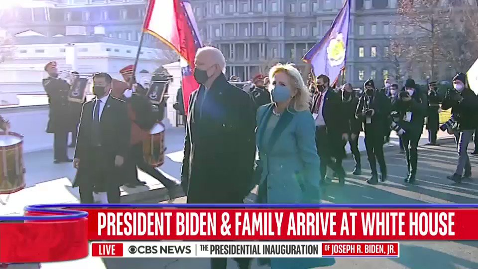 Former Pres. Trump has left a letter for Pres. Biden in the oval office, sticking with the traditions of past presidents, @PaulaReidCBS reports.  The Biden transition has already been underway throughout the building, including the implementation of new COVID-19 protocols.