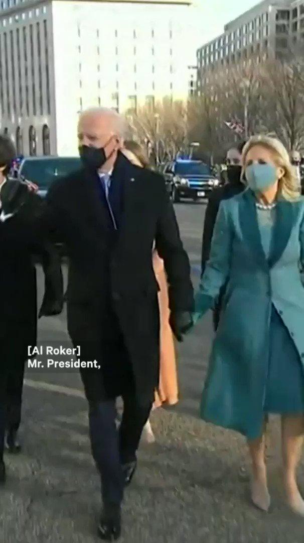 Al Roker and Joe Biden recreated their 2013 inauguration parade handshake with a 2021 fist bump
