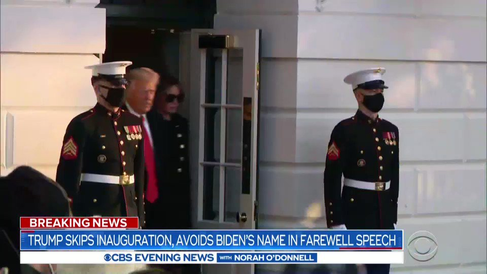 Former Pres. Trump arrived in Florida just before Pres. Biden was sworn in, becoming the first president to miss his successor's inauguration since 1869.  In a final speech, Pres. Trump wished the Biden-Harris administration well, without saying their names.  Here's @PaulaReidCBS
