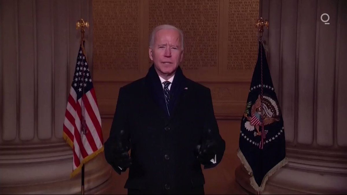 """🇺🇸 """"America's story depends on all of us, on 'We the People.'""""  Standing before the Lincoln Memorial, Joe Biden called for unity in the U.S., saying, """"there isn't anything we can't do if we do it together"""" on #InaugurationDay  #CelebratingAmerica"""