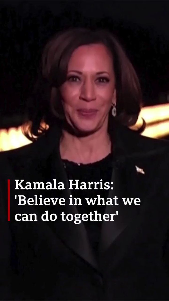 """Believe in ourselves, believe in our country, believe in what we can do together""   US vice-president Kamala Harris speaks about the values President Biden wants to ""summon"" from people in America"
