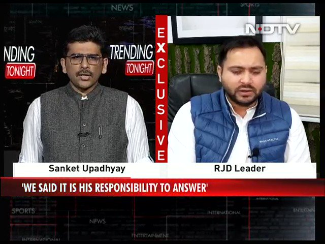 "#TrendingTonight | ""Law and order situation in Bihar is worsening"": @yadavtejashwi, Leader of Opposition, Bihar  #NDTVExclusive"