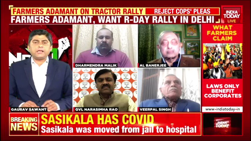 #FarmersProtest   Dharmendra Malik of Bharat Kisan Union explains why they have rejected Centre's offer to suspend #FarmLaws. BJP's @GVLNRAO says demand for repeal is undemocratic. Agricultural expert Dr Veerpal Singh also shares his views. #IndiaFirst with @GauravCSawant