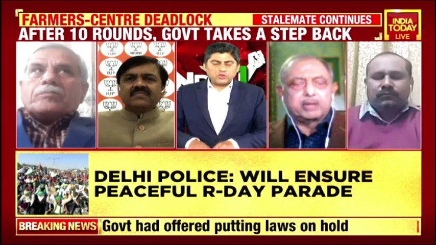 #FarmersProtest   Bharat Kisan Union's Dharmendra Malik says they are talking with Delhi Police for permission to hold a tractor rally on #RepublicDay. BJP's @GVLNRAO defends the 3 #FarmLaws, says it does not impinge on the existing MSP structure. #IndiaFirst