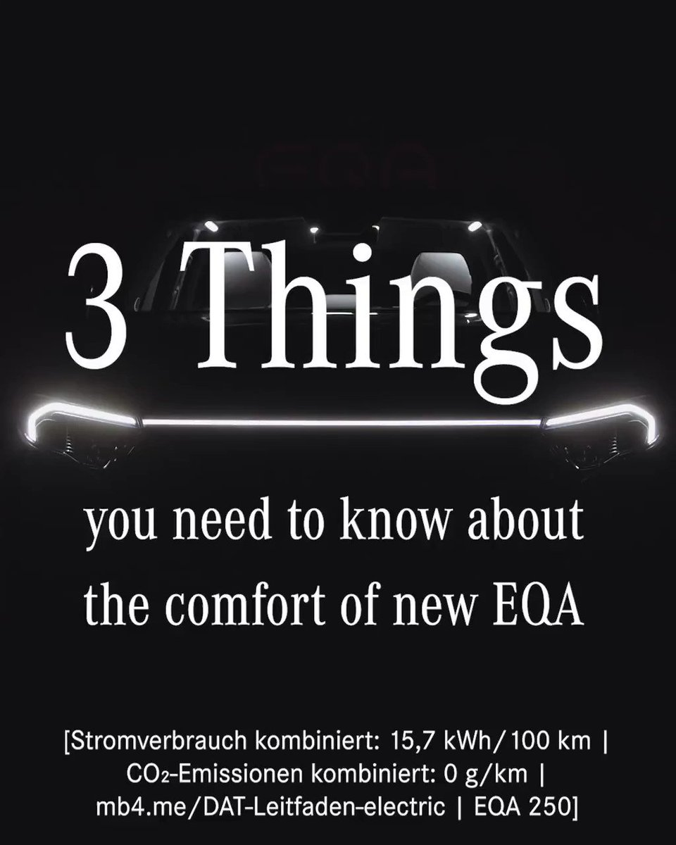 [Stromverbrauch kombiniert: 15,7 kWh/100 km   CO₂-Emissionen kombiniert: 0 g/km      EQA 250]  If comfort in a car is a must for you, you should have a look at this clip.  Learn more about the all new #EQA: