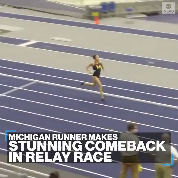 RELAY REMARKABLE: Runner Ziyah Holman makes a stunning comeback in a 4 x 400 relay race to claim victory for her team at the University of Michigan.