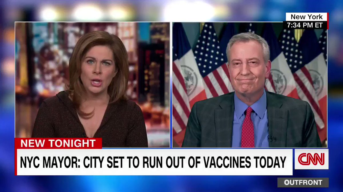 """New York City Mayor Bill de Blasio: """"We are now vaccinating at the highest rate we've been at ever. 45,000 people on Monday. But we're running out of vaccine and we're not getting any assurance of major new shipments."""""""