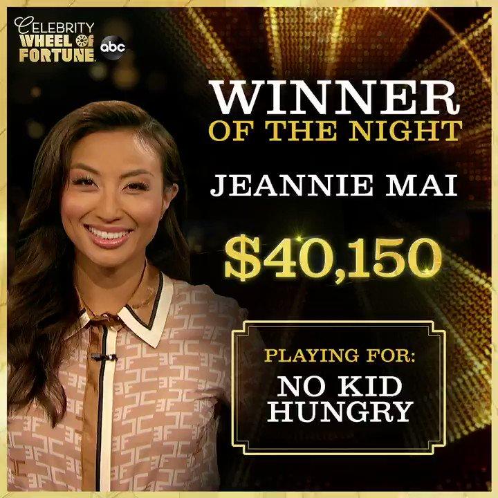 #HoleyMoley, @jeanniemai just won big for @nokidhungry! 🎉 #CelebrityWheelOfFortune