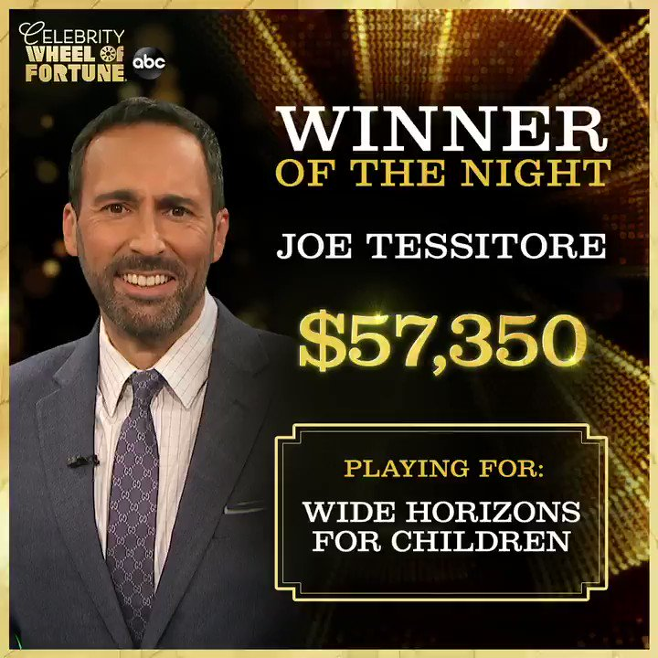 It was a great night for @JoeTessESPN, taking home a win for @WHFChildren on #CelebrityWheelOfFortune!