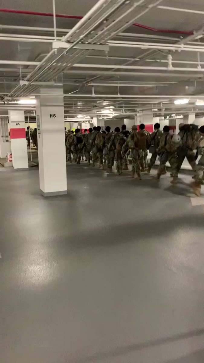 WATCH: National Guard troops leave the Thurgood Marshall Judicial Center garage after U.S. Capitol Police temporarily relocated their rest area. Troops have since returned to the Capitol. - @MoshehNBC