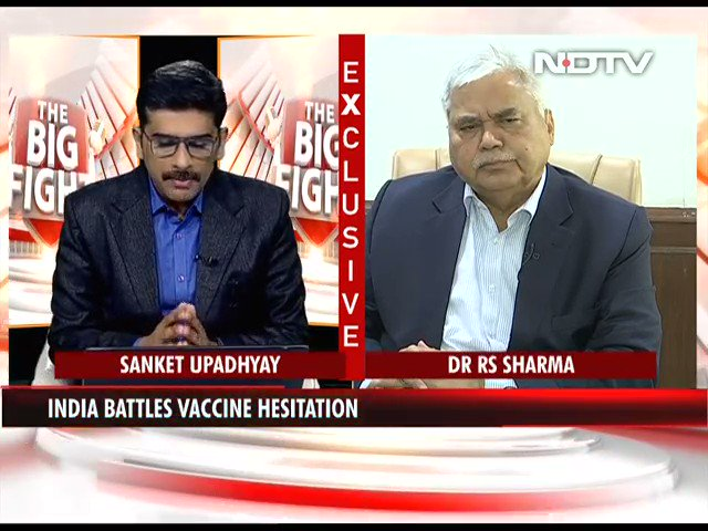 "#TheBigFight | ""There were initial glitches in the software that we had created for vaccination.  All those glitches have been attended to"": Dr RS Sharma, Empowered Group, Vaccination   #COVID19 #NDTVExclusive"
