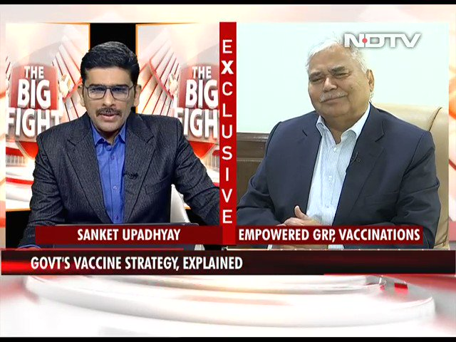 "#TheBigFight | ""There will be no breach of data"": Dr RS Sharma, Chairman, Empowered Group on #CoWin App  #NDTVExclusive"