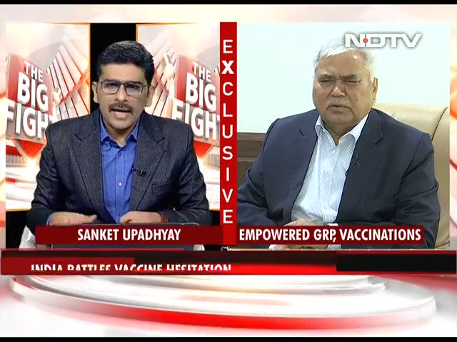 "#TheBigFight | ""Based on the data I have seen, the adverse effects so far is minor in nature"": Dr RS Sharma, Chairman, Empowered Group on #Covid vaccination  #NDTVExclusive"