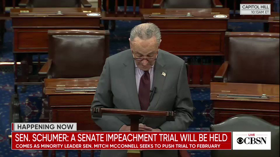 "Schumer says he will turn down McConnnell's request for Democrats to protect the filibuster as part of the 50-50 Senate: ""Leader McConnell's proposal is unacceptable, and it won't be accepted"""