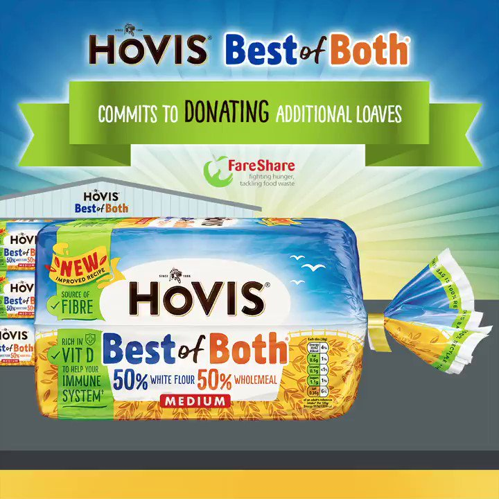 We are proud to be increasing our donations of Hovis Best of Both to our partner @FareShareUK. In 2021 we are doubling the number of loaves donated to 500,000 to help families living in food poverty make 5 million sandwiches. #TogetherWeAreStronger #ENDCHILDFOODPOVERTY #FareShare