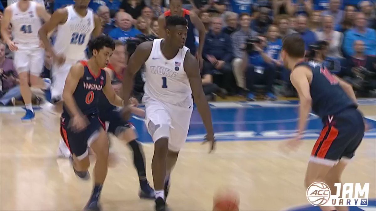 This play was absolutely 𝙧𝙞𝙙𝙞𝙘𝙪𝙡𝙤𝙪𝙨...      ▪️ In-and-out crossover in transition    ▪️ Tomahawk with opposite hand    ▪️ And-1 poster through a 7-footer foul  @Zionwilliamson was different on so many levels... #Jamuary   @DukeMBB | @PelicansNBA https://t.co/P4NauMNy1l