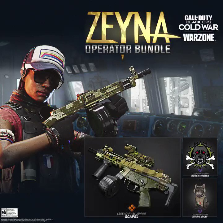 Zeyna, welcome to the party.  Unlock the Senegalese heavy weapons expert in the Zeyna Operator Bundle. Available now for #BlackOpsColdWar and #Warzone.
