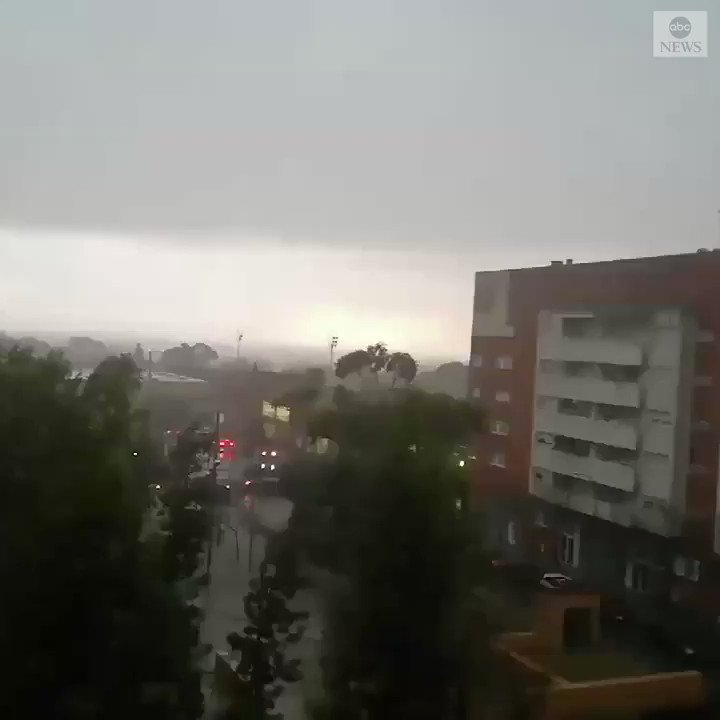LIGHT SHOW: Lightning illuminated buildings in Reus, Spain, as a thunderstorm rolled through the area.