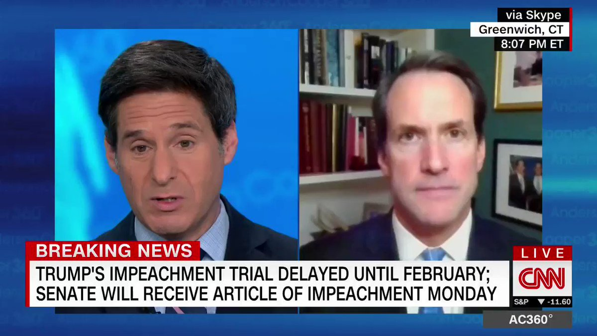 """Democratic Rep. Jim Himes says he's """"in the camp of believing that there is very little probability that you're going to get 16 Republican senators to convict"""" former Pres. Trump."""