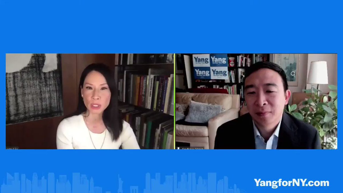 """.@LucyLiu to @AndrewYang: """"I think what makes you different from any other person that I know in politics, that I know closely, is just that you're very positive and your energy is up."""""""