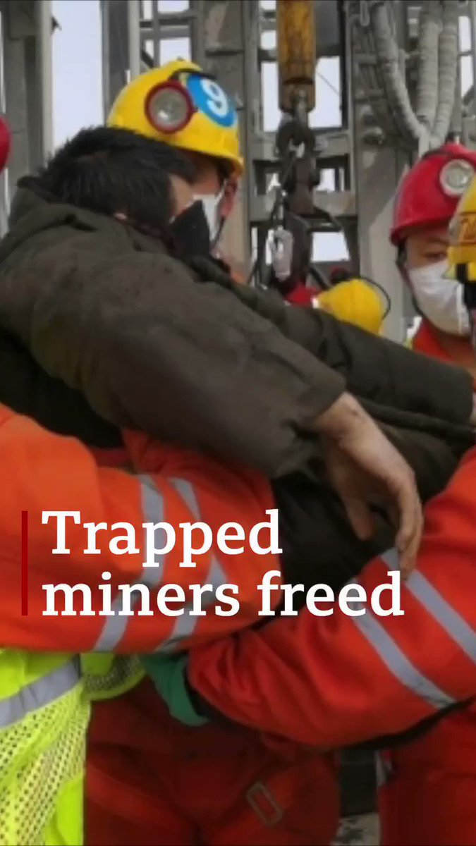 The moment a trapped Chinese miner is brought to the surface — 11 have been rescued after two weeks underground