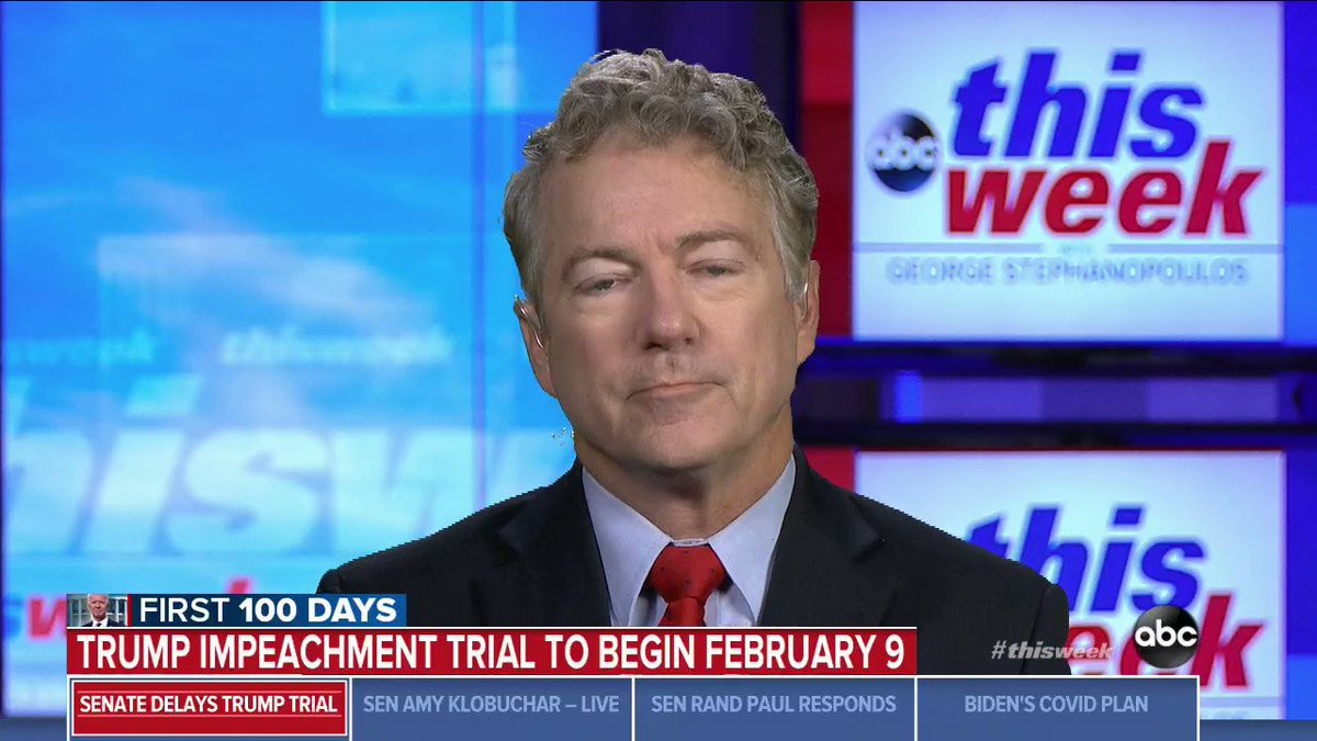"Pressed repeatedly by @GStephanopoulos, Sen. Rand Paul won't say the 2020 election wasn't stolen, calls for investigation of fraud, but doesn't provide evidence.  GS: ""There are not two sides to this story. This has been looked at in every single state."""