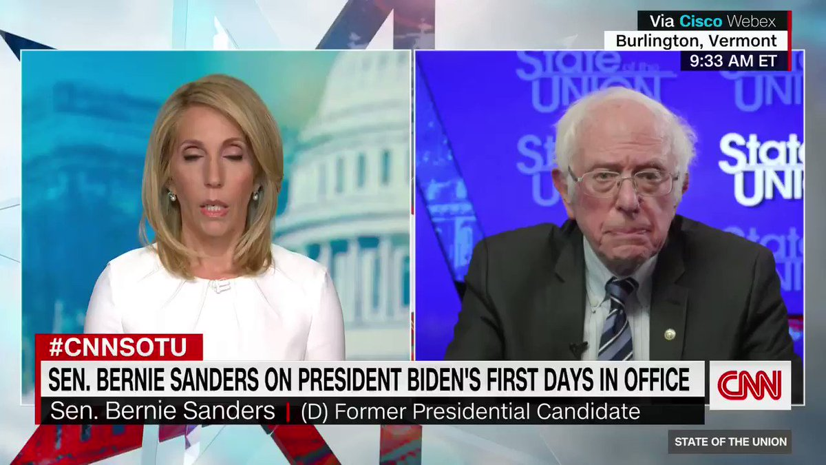 "Sen. Bernie Sanders says Democrats will use reconciliation ""as soon as we possibly can"" to pass a Covid-19 relief package, which will allow for a 51 majority vote rather than 60.   ""What we cannot do is wait weeks and weeks and months and months to go forward,"" he says. #CNNSOTU"